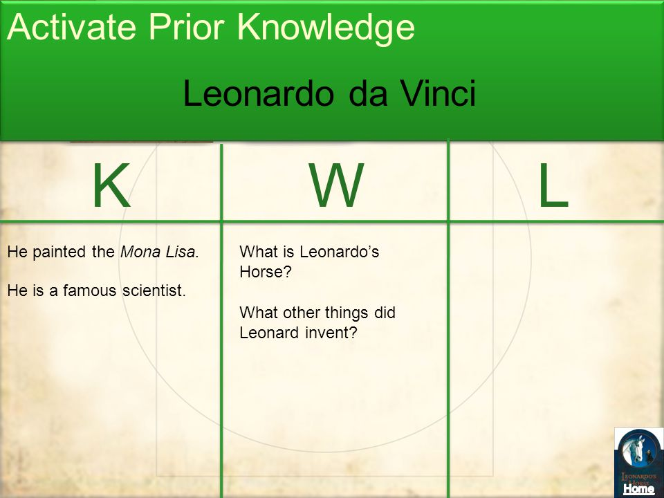 K W L Activate Prior Knowledge Leonardo da Vinci