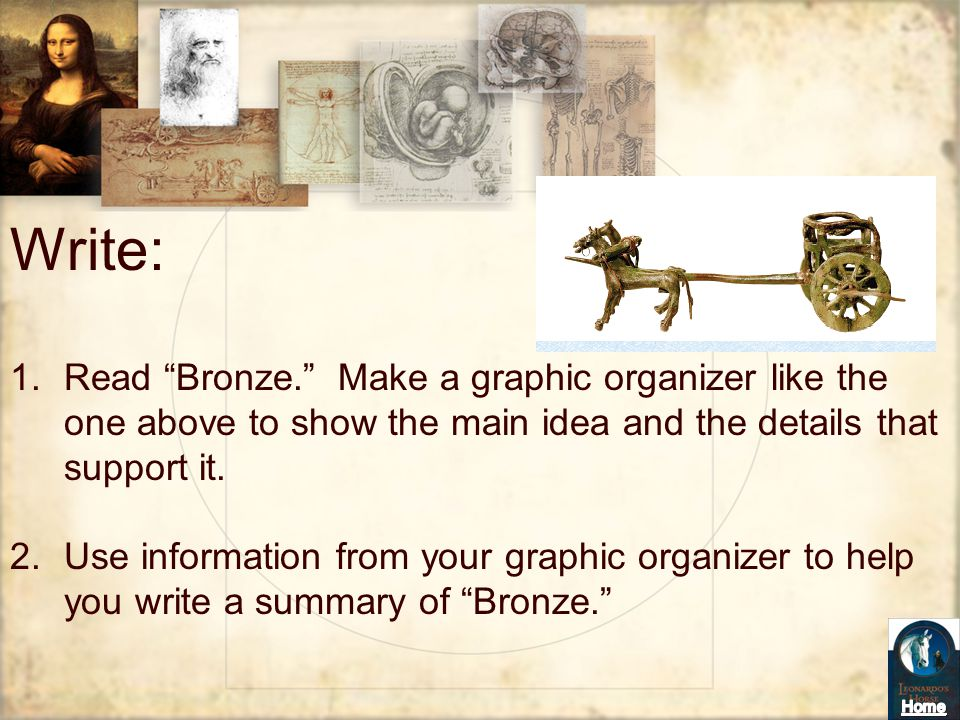 Write: Read Bronze. Make a graphic organizer like the one above to show the main idea and the details that support it.