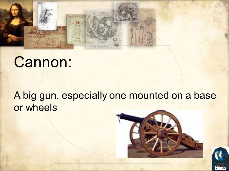 Cannon: A big gun, especially one mounted on a base or wheels