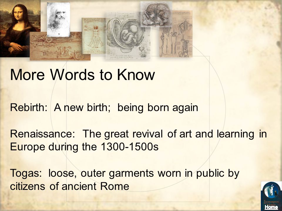 More Words to Know Rebirth: A new birth; being born again
