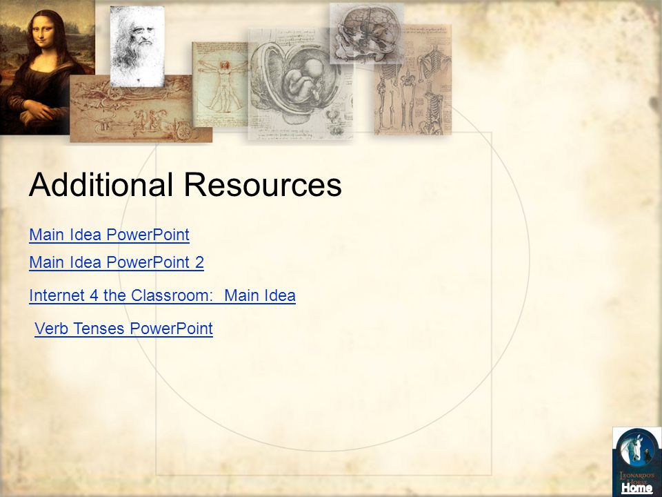 Additional Resources Main Idea PowerPoint Main Idea PowerPoint 2