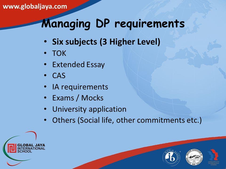 Managing DP requirements