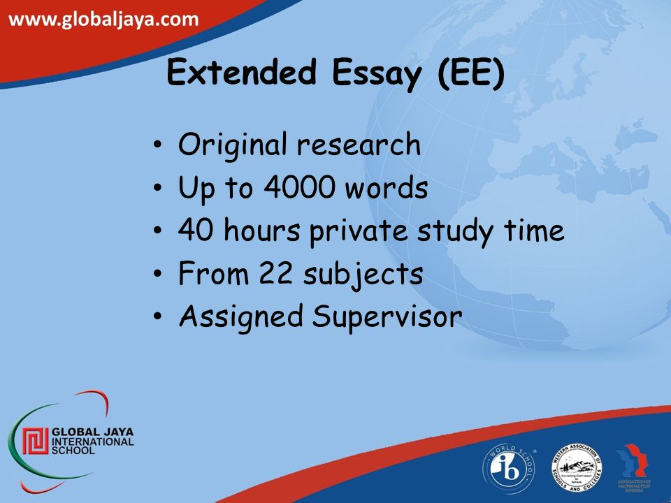 Extended Essay (EE) Original research Up to 4000 words