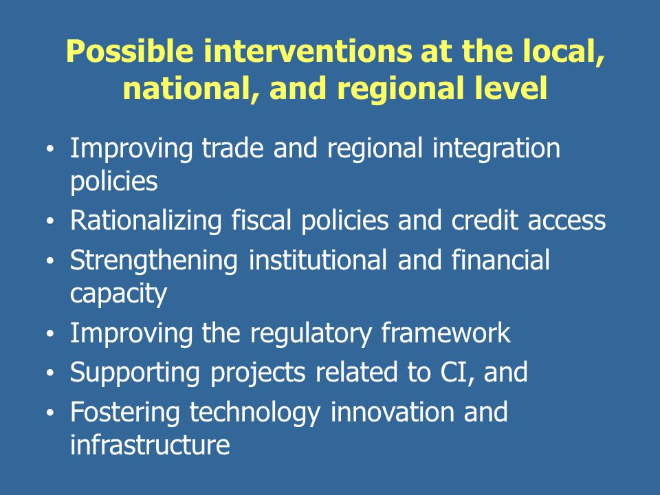 Possible interventions at the local, national, and regional level