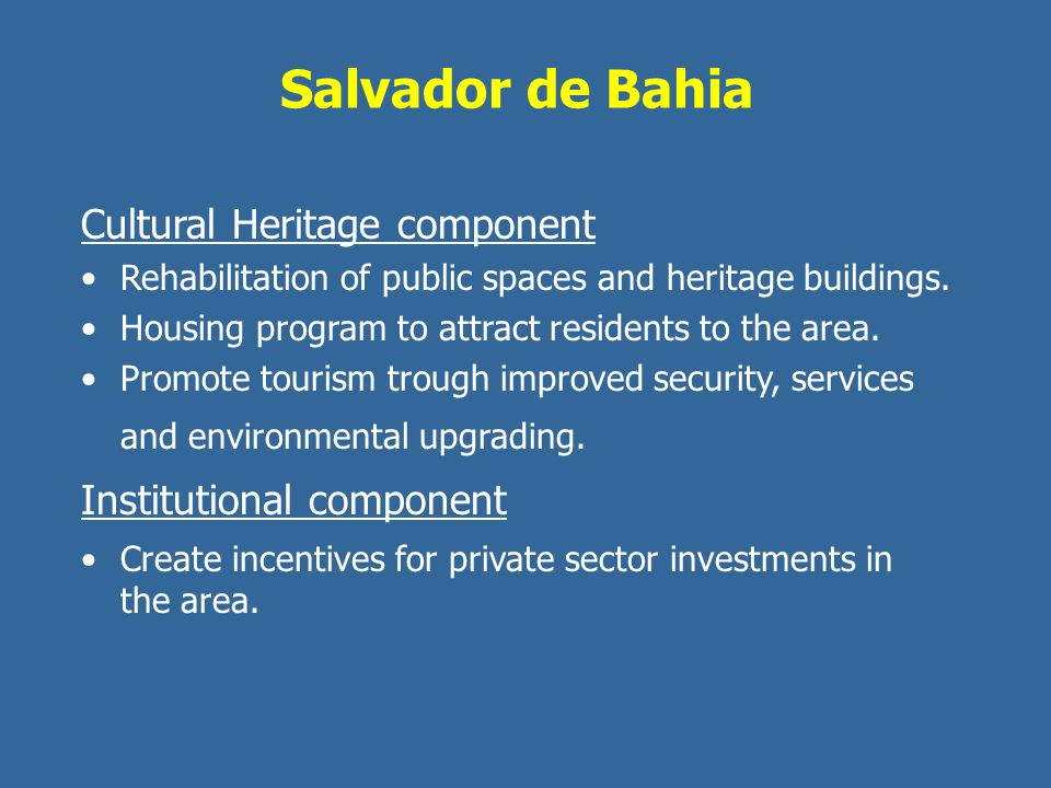 Salvador de Bahia Cultural Heritage component Institutional component