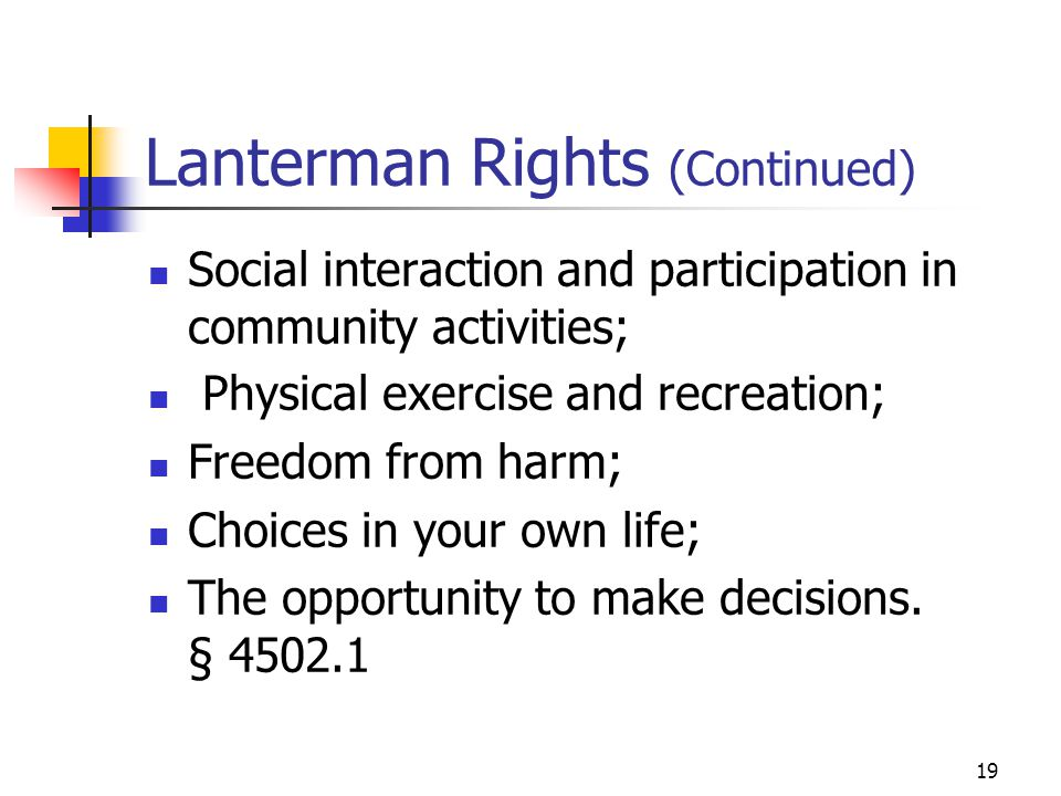 Lanterman Rights (Continued)