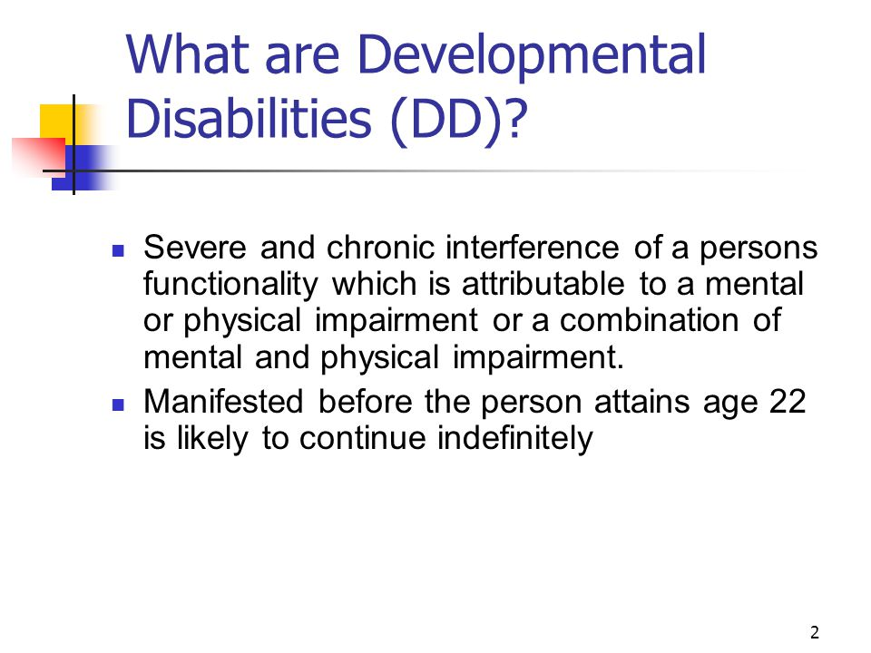 What are Developmental Disabilities (DD)
