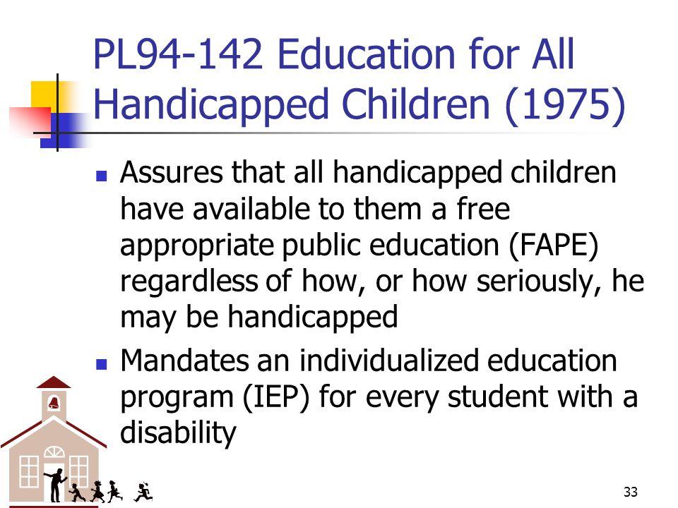 PL94-142 Education for All Handicapped Children (1975)