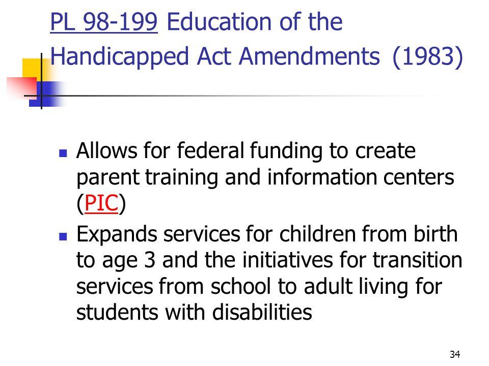 PL 98-199 Education of the Handicapped Act Amendments (1983)