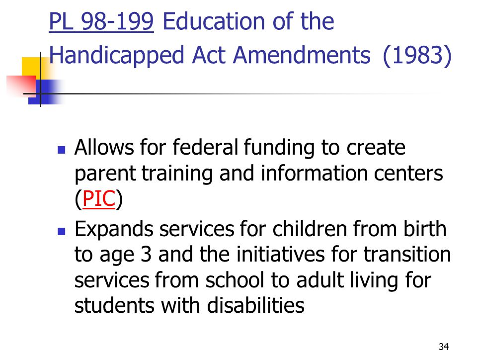 PL Education of the Handicapped Act Amendments (1983)