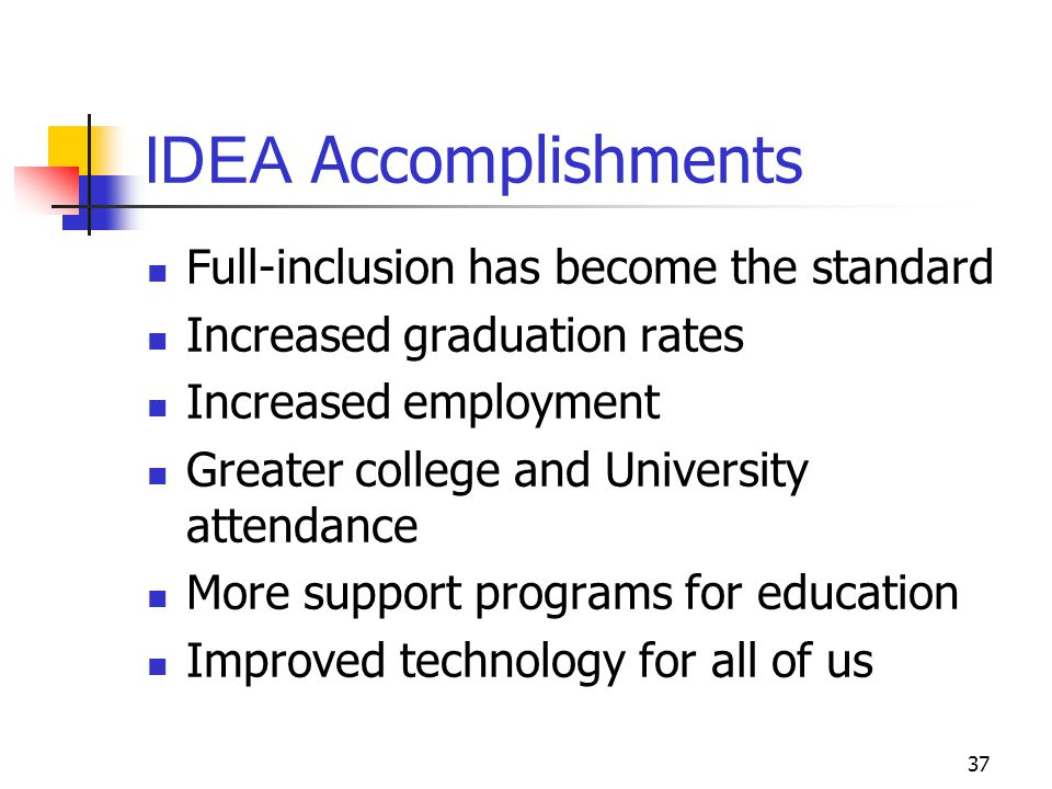 IDEA Accomplishments Full-inclusion has become the standard