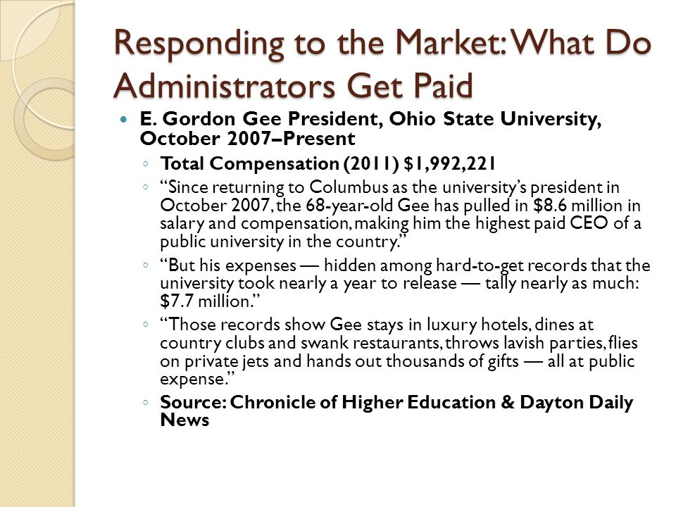 Responding to the Market: What Do Administrators Get Paid