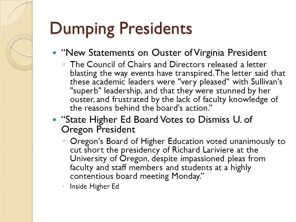 Dumping Presidents New Statements on Ouster of Virginia President