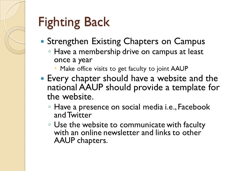 Fighting Back Strengthen Existing Chapters on Campus