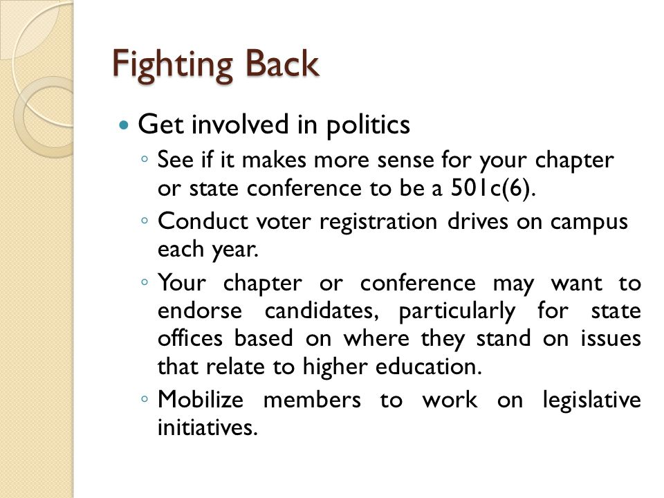 Fighting Back Get involved in politics