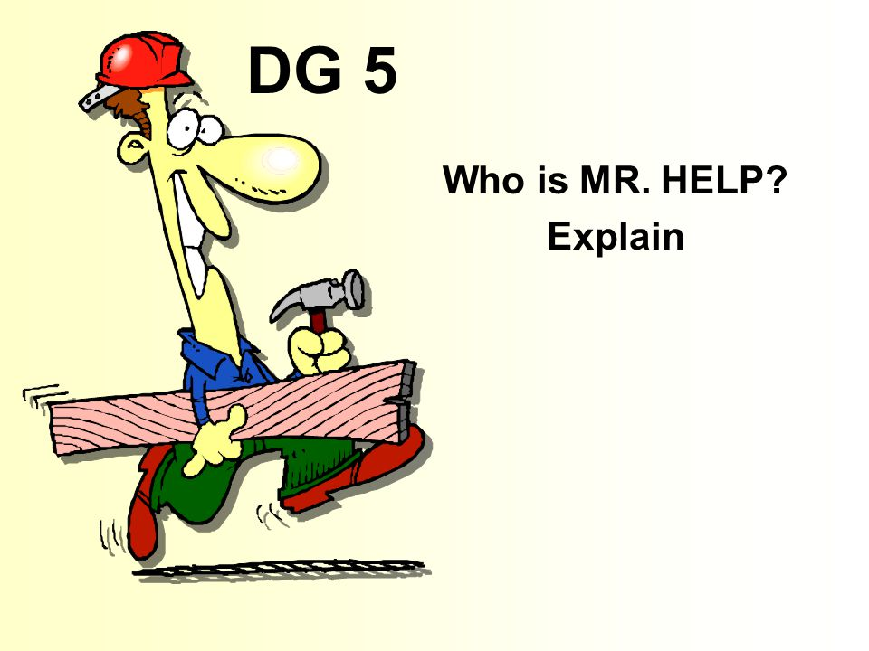 DG 5 Who is MR. HELP Explain