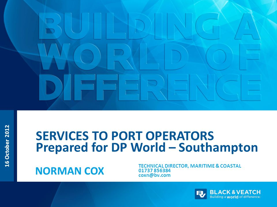 Services to port operators Prepared for DP World – Southampton