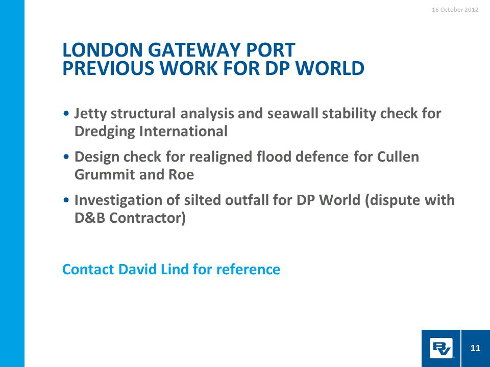 London gateway port Previous work for DP World