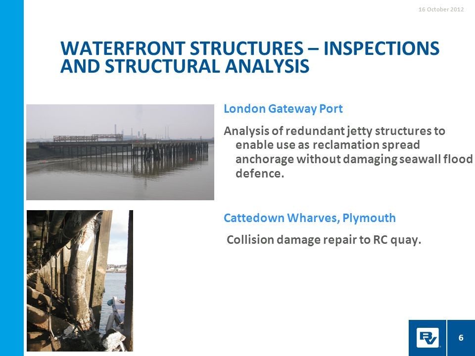Waterfront structures – inspections and structural analysis