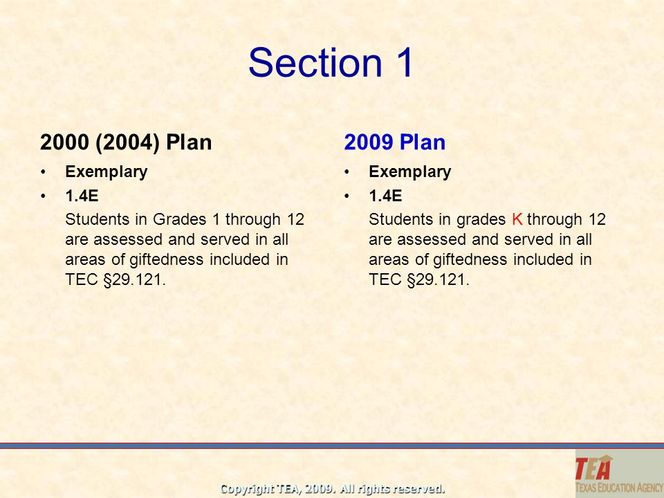 Section 1 2000 (2004) Plan 2009 Plan Exemplary 1.4E