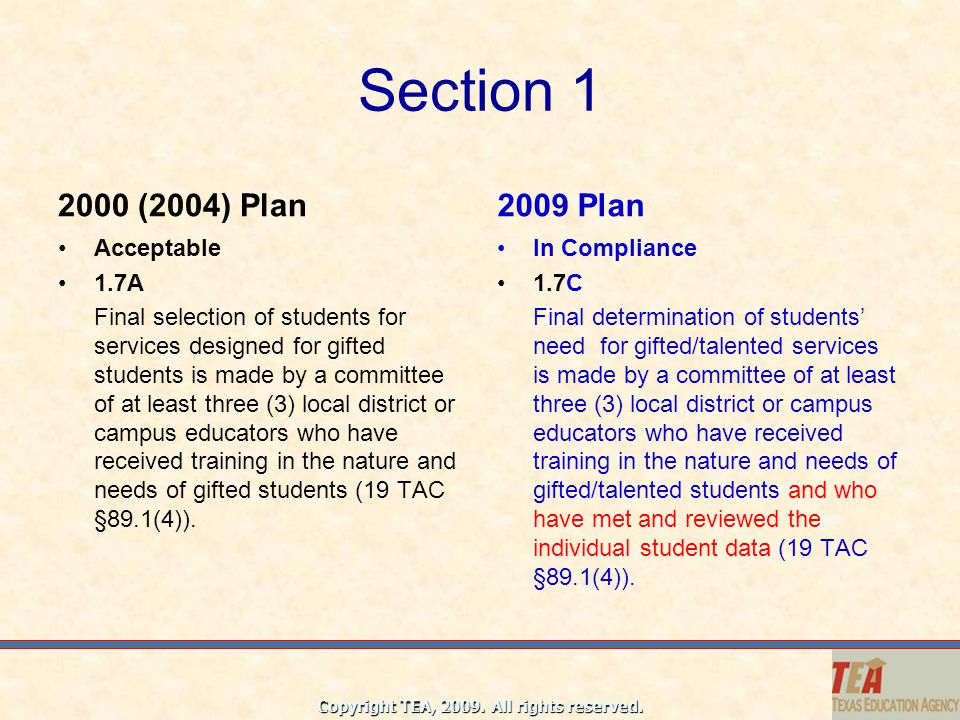 Section 1 2000 (2004) Plan 2009 Plan Acceptable 1.7A