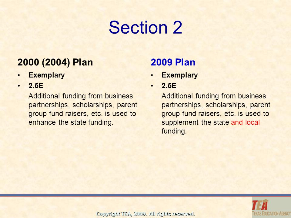 Section 2 2000 (2004) Plan 2009 Plan Exemplary 2.5E