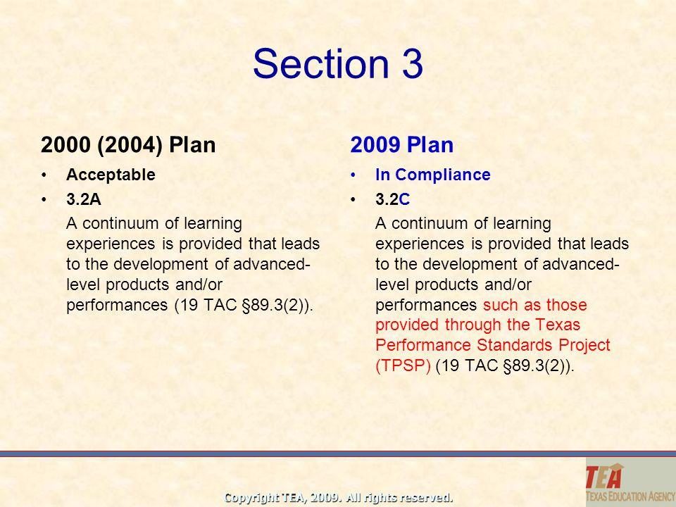 Section 3 2000 (2004) Plan 2009 Plan Acceptable 3.2A