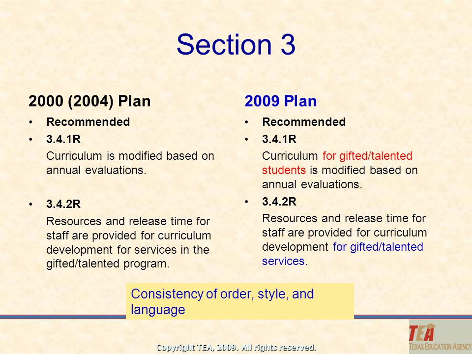 Section 3 2000 (2004) Plan. 2009 Plan. Recommended. 3.4.1R. Curriculum is modified based on annual evaluations.