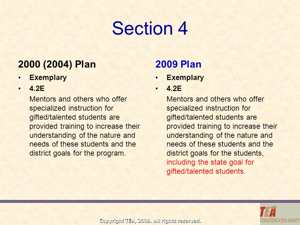 Section 4 2000 (2004) Plan 2009 Plan Exemplary 4.2E