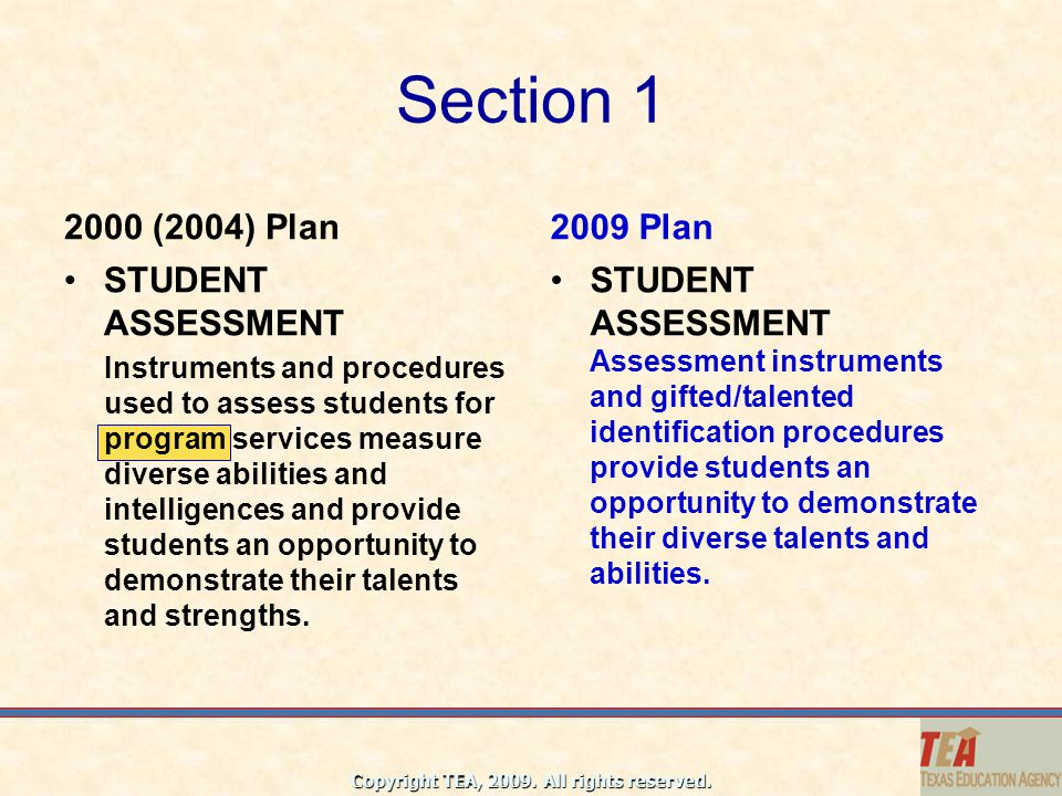 Section 1 2000 (2004) Plan 2009 Plan STUDENT ASSESSMENT