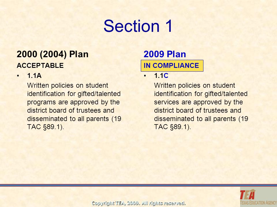 Section 1 2000 (2004) Plan 2009 Plan ACCEPTABLE 1.1A
