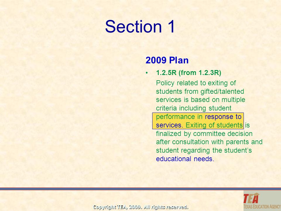 Section 1 2009 Plan. 1.2.5R (from 1.2.3R)