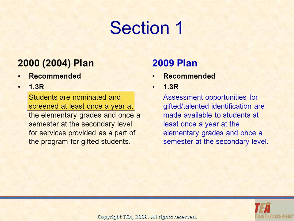 Section 1 2000 (2004) Plan 2009 Plan Recommended 1.3R