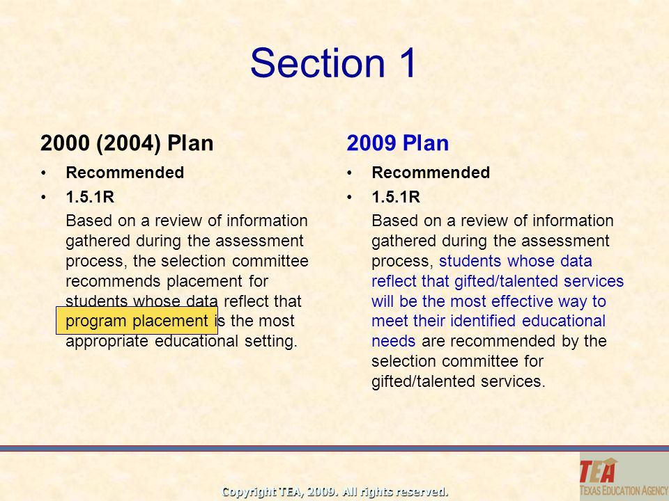 Section 1 2000 (2004) Plan 2009 Plan Recommended 1.5.1R