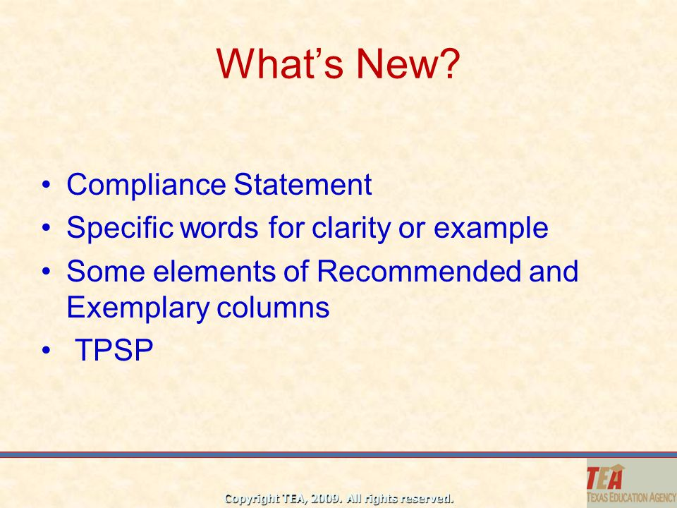 What's New Compliance Statement Specific words for clarity or example