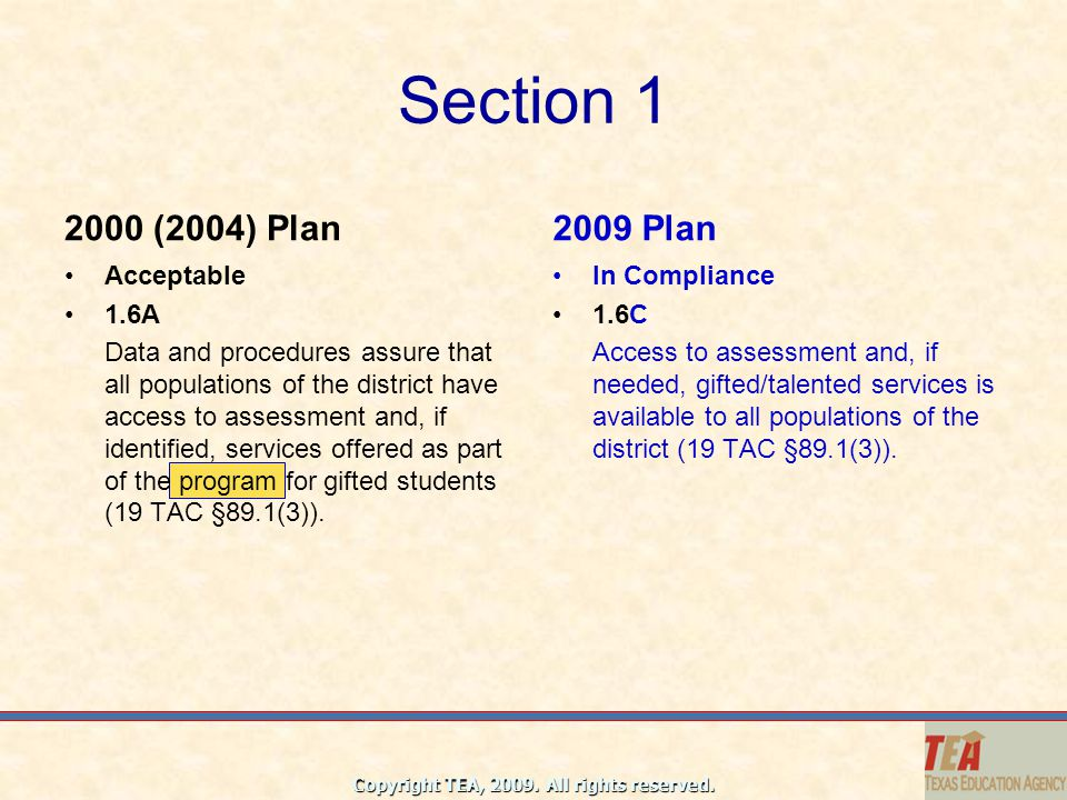 Section 1 2000 (2004) Plan 2009 Plan Acceptable 1.6A