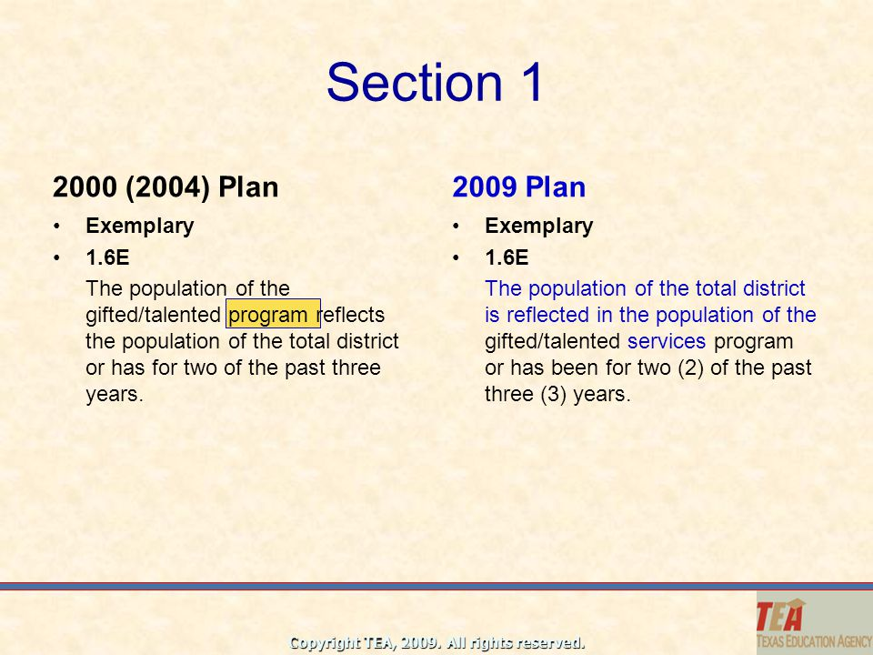 Section 1 2000 (2004) Plan 2009 Plan Exemplary 1.6E