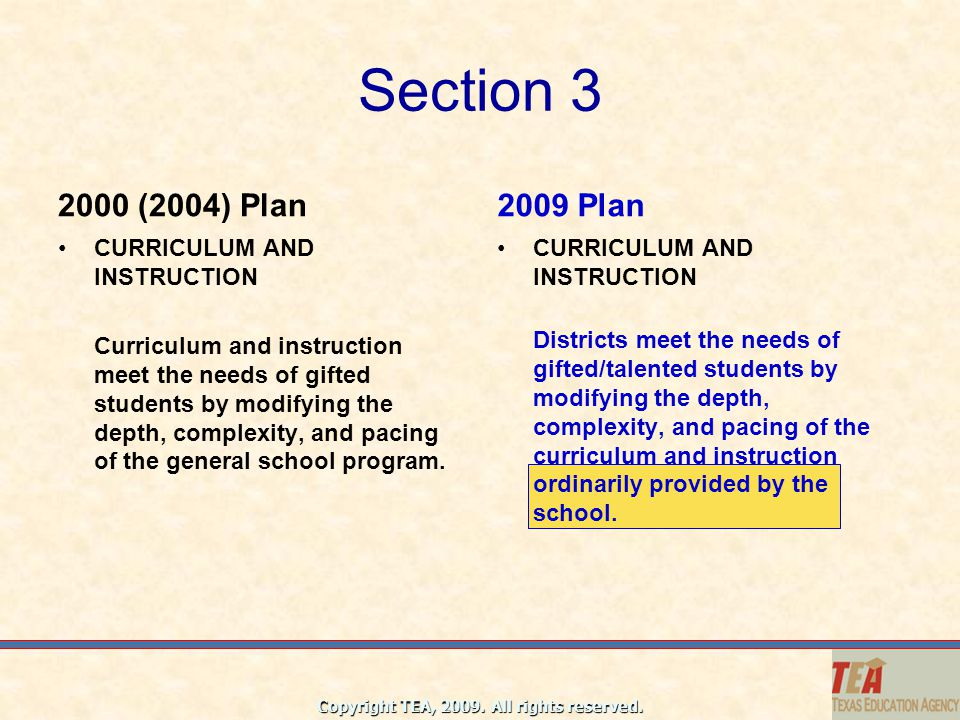 Section 3 2000 (2004) Plan 2009 Plan CURRICULUM AND INSTRUCTION