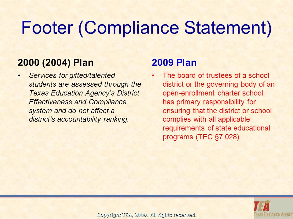 Footer (Compliance Statement)