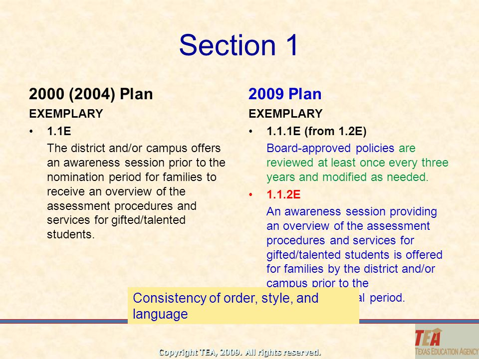 Section 1 2000 (2004) Plan. 2009 Plan. EXEMPLARY. 1.1E.