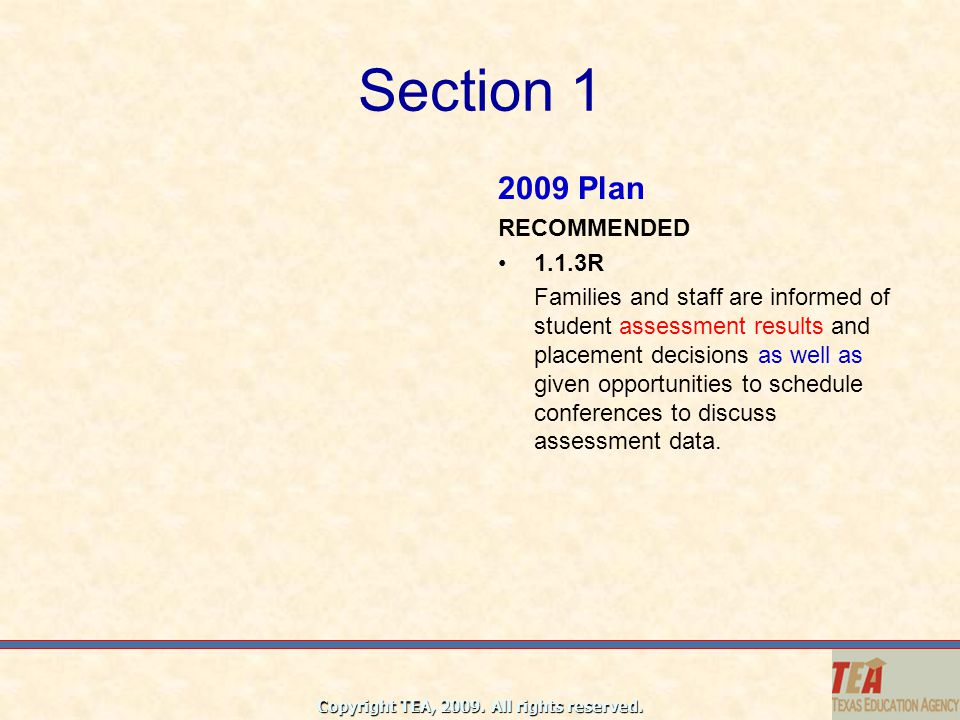 Section 1 2009 Plan RECOMMENDED 1.1.3R