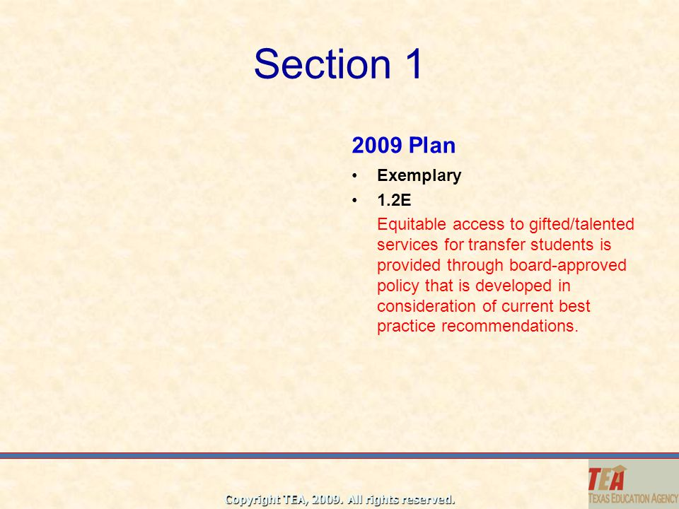 Section 1 2009 Plan Exemplary 1.2E