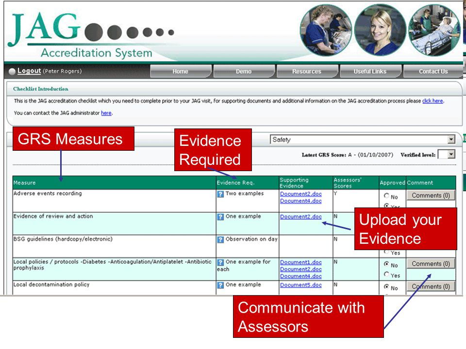 GRS Measures Evidence Required Upload your Evidence Communicate with Assessors