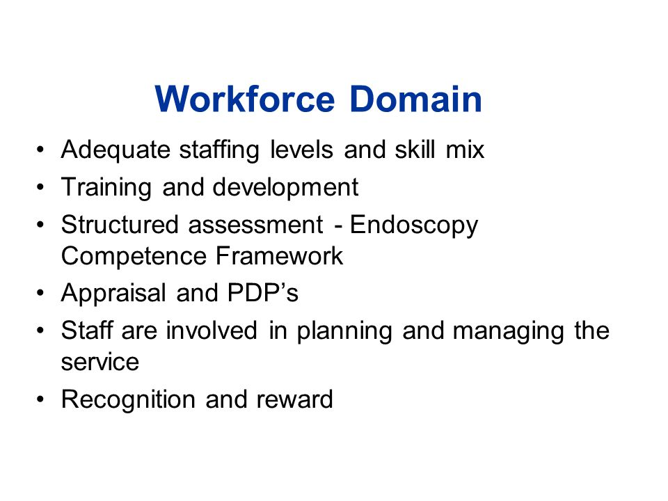 Workforce Domain Adequate staffing levels and skill mix