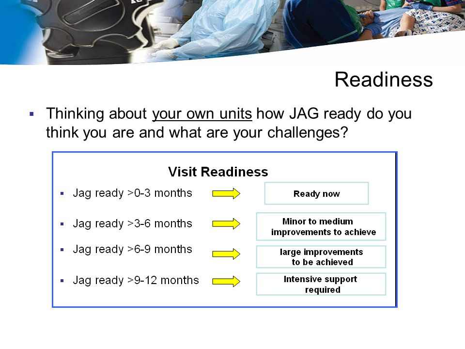 Readiness Thinking about your own units how JAG ready do you think you are and what are your challenges