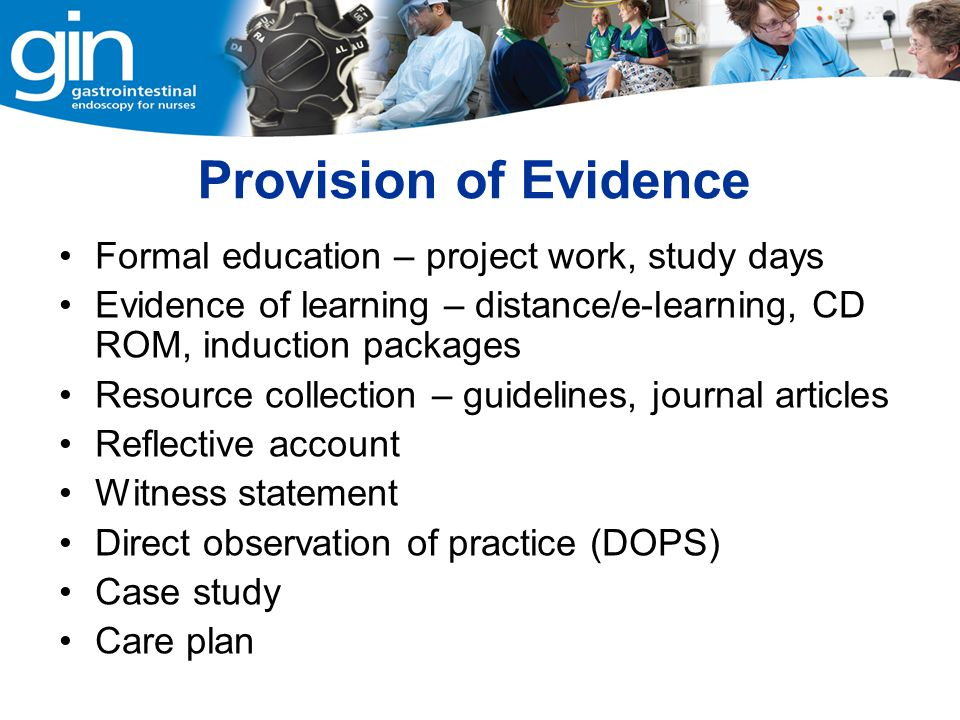 Provision of Evidence Formal education – project work, study days
