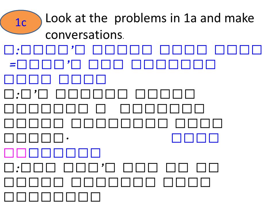 Look at the problems in 1a and make conversations.