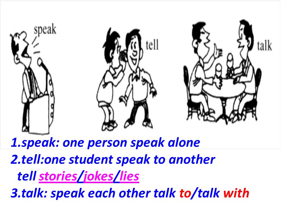 1.speak: one person speak alone