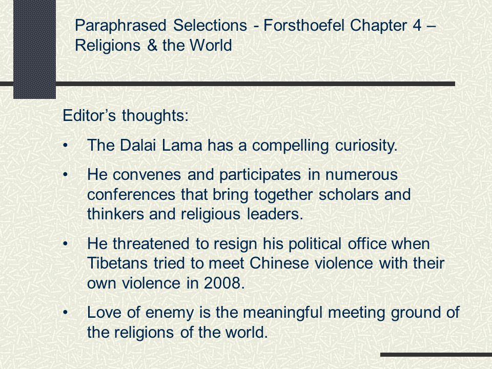 Paraphrased Selections - Forsthoefel Chapter 4 – Religions & the World