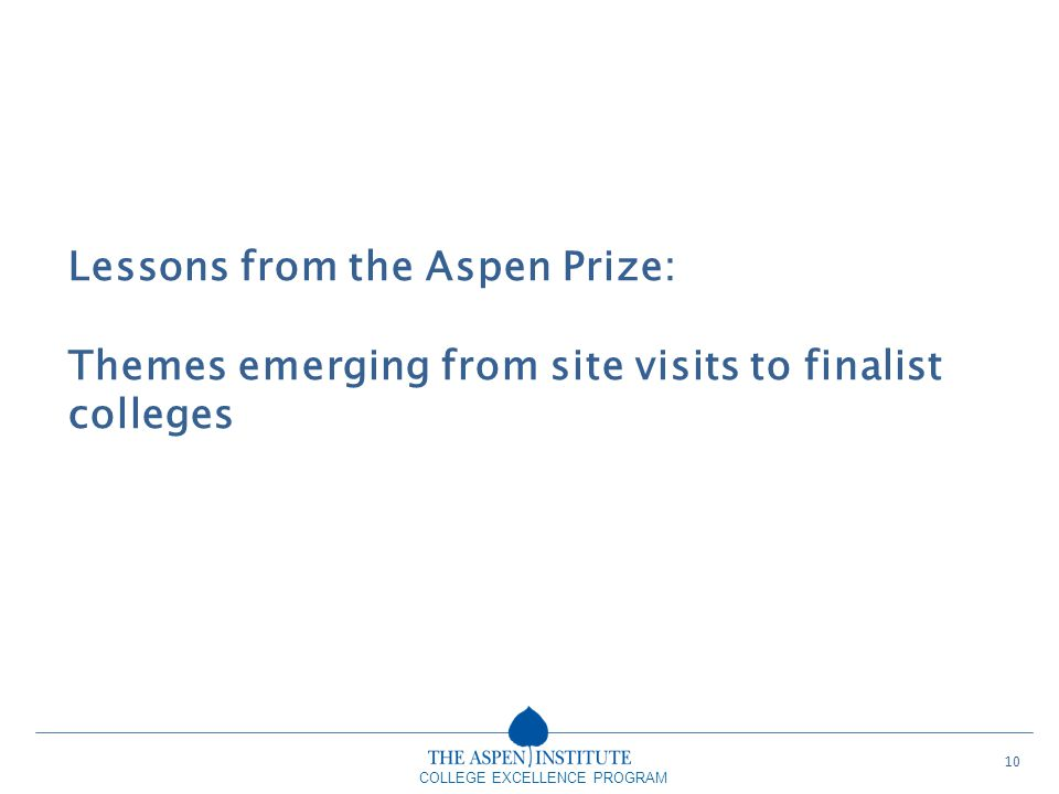 Lessons from the Aspen Prize:
